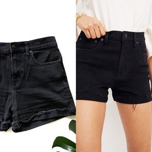 Madewell High Rise Denim Shorts In Washed Black!